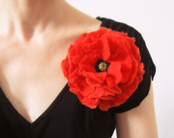 Red Poppy-Felt Brooch-Hand Felted From Wool