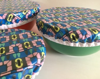 Zero Waste, Laminated Bowl Covers, Laminated Cotton, Washable, Retro, Hostess Gift, Housewarming Gift, Bowls, Eco Friendly, Waterproof