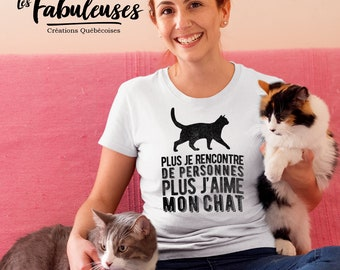 More people I meet more I love my cat - round neck T-Shirt