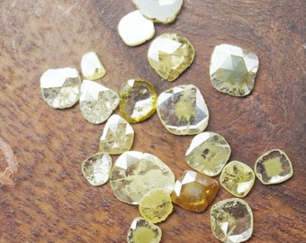ON SALE 50% Yellow Diamond Slice, Faceted Flat Back Diamond Rose Cut, Extra Lustre Conflict Free, 5 Pieces, 4mm To 6mm Each Polished Diamond