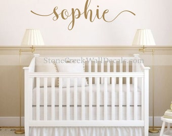 Name Wall Decal Personalized Name Decor Girls Nursery Decal Rustic Cottage Style Name Decal Girls Bedroom Decor Gold Name Lettering N038