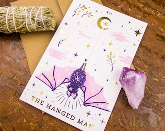 The Hanged Man Animal Spirit Folded Greeting Card with Gold Foil Accents