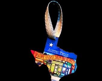 Austin Texas Graffiti Flag Welcome Christmas Ornament / gift tag