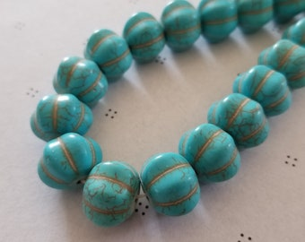 Big Turquoise Howlite synthetic pumpkin 11x17 mm full strand