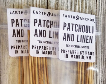 Patchouli & Linen Hand-Dipped Incense || Cured by Sun in the NM Desert || Natural Incense Sticks