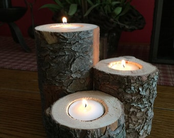Reclaimed Wood Candle Holder, Tree Log Candle Holder, Rustic Home Decor, Country Candleholder