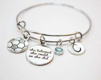 soccer bracelet, personalized soccer bracelet, soccer bangle, soccer charm bracelet, soccer theme jewelry, soccer player gift, soccer player