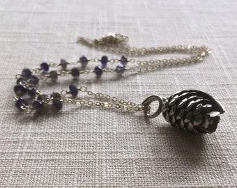 Pinecone Assemblage Necklace [vintage pendant, iolite, chain]