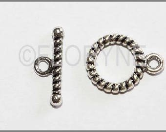 Set of 5 carved Toggle clasps, antique silver