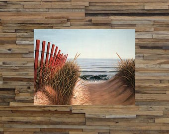 Beach Path Coastal Art, Beach Art, Ocean Art, Vintage Art, Giclee Art Print, fine Art Reproduction