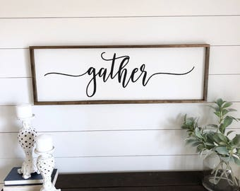 Gather Sign. Gather wood framed sign. Farmhouse sign. Wood framed sign. Rustic wall decor. Fixer upper sign. farmhouse wall decor.