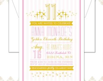 Golden Birthday Party Invitation, Sparkles Birthday, Glitter Birthday, Gold and Pink Invite, Eleventh Birthday, Stripes, Modern Invite