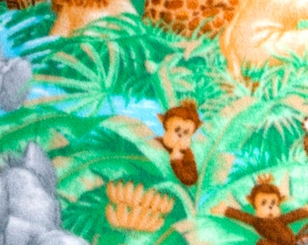 Jungle Babies Scene Nursery 58-inch Fleece Fabric by the yard