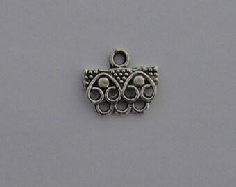 10 connectors 8 holes 16x14mm antique silver color