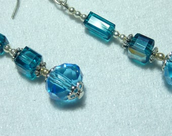"""""""turquoise Crystal"""" Silver earrings jewelry"""