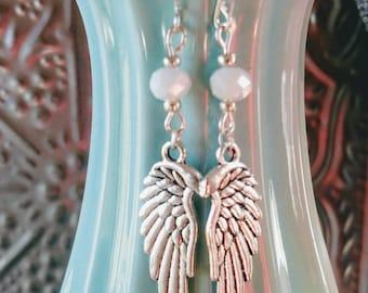 Angel Wing Earrings in White