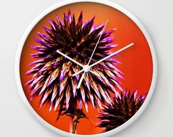 Orange Wall Clock, Orange Clock, Nature Photography, Landscape Photography, Orange Wall Decor, Purple Thorns