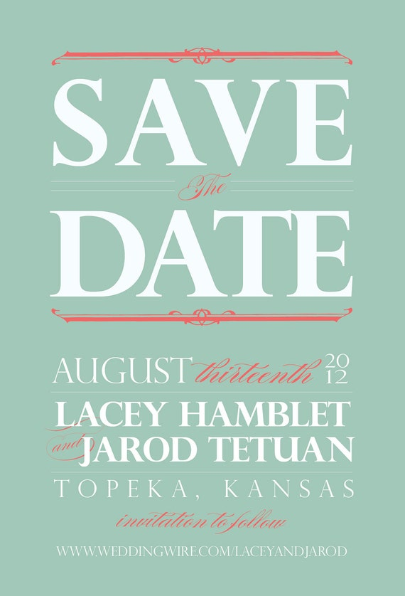 Mint Green & Coral Vintage Save the Date
