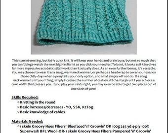 Pattern - Cowl / Neckwarmer - Cavorting With Columns - Cables and Lace - Groovy Hues Fibers Designs - PATTERN ONLY !