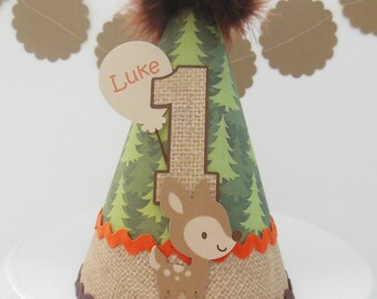 Lil Deer- Woodland Birthday Party Hat -Forest Trees, Burlap, Orange and Brown- Personalized