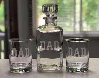 Dad Decanter Set - Whiskey Decanter and 2 Double Rocks Glasses - Dads - Fathers -Fathers Day - Dad Whiskey - Dad Scotch
