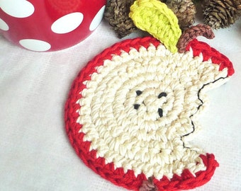 Crochet Coasters- Apple Coasters - Drink Coasters - Apple Trivet - Fruit Coasters - Set of 4 - Gift for Teacher - Rustic Wedding Gift Idea