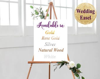 Wedding Easel, Gold Easel, Rose Gold Easel, Natural Wood Easel, Wedding Sign Easel, Sitting Chart Easel, Easel for Sign, Gold Wedding Easel