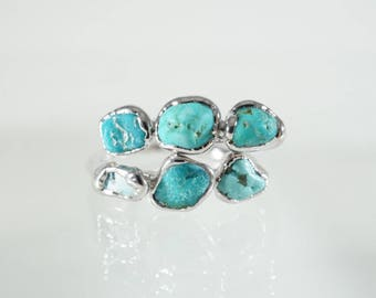 Turquoise Silver Ring / Raw Turquoise / Silver Rings / Stacking Rings / Solitaire Ring / Triple Stone Ring / Stone Ring / Raw Stone Ring