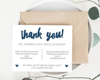 INSTANT Business Thank You Cards, Editable PDF Printable Packaging Inserts for Online Shops, Etsy Sellers | Navy Branding, Adelie | Download