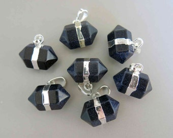 Polished Natural Blue Sandstone Double Terminated Point Pendant With Silver Bail - B918