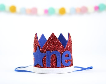 Fourth of July Birthday Crown | 4th of July birthday | First Birthday Boy | Smash Cake Prop | 1st Birthday Photo Hat | Red White and Blue