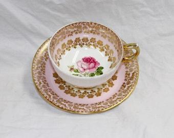 Windsor Tea Cup and Saucer Set - Demitasse Espresso Set - Pattern Pink 188/60 - England Bone China - Vintage 1950s