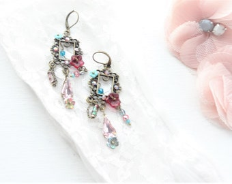woman earring, romantic earring, BO bohemian chic, Czech glass bead and swarovski crystal earring