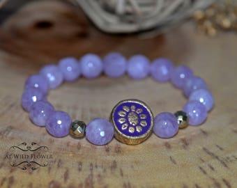 Amethyst Bracelet, Beaded Bracelet, Gemstone Bracelet, Women's Bracelet, Purple Bracelet, Gift Idea, Gift for Her, Boho Jewelry