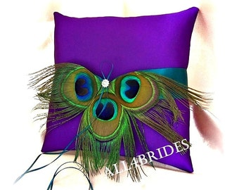 Peacock wedding purple and teal ring bearer pillow - peacock feathers wedding ring cushion and basket