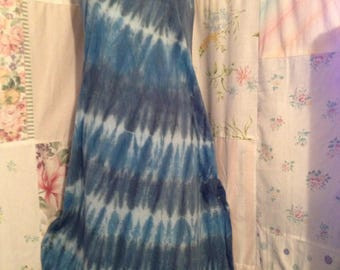 SMALL Dress, Bohemian Hippie Boho Tie dye Cotton Sleeveless Summer Dress