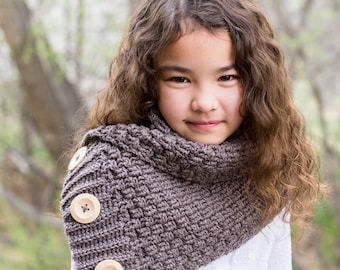 CROCHET PATTERN - Snuggle Up Scarf - crochet scarf pattern, buttoned cowl pattern (Toddler Child Adult sizes) - Instant PDF Download