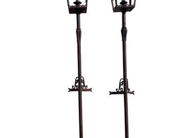 Pair Antique French Wrought Iron Street Lights Paris Style Street Lamps  Wedding Lighting French Garden Lights