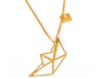 EN vente 50 % de réduction!, or origami collier en bateau, bateau en origami NecklaceGeometric pendentif, bijoux de charme minimaliste, cadeau du jour de Valntine en argent