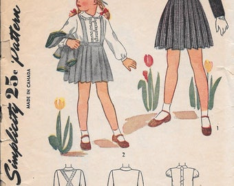Vintage 1940s Simplicity Sewing Pattern 1242- Girls' Bolero, Skirt and Blouse size 4