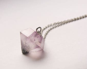 Big purple diamond resin necklace with glitter, sparkling, long necklace, resin crystal, chain necklace