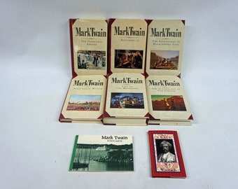 Lot of Mark Twain Books and Postcards, Tom Sawyer, Huckleberry Finn, Life on the Mississippi