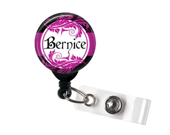 Personalized Purple and Black, Retractable ID Badge Reel (D_168)
