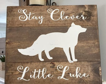 Personalized Fox Sign, Woodland Nursery, Fox Nursery