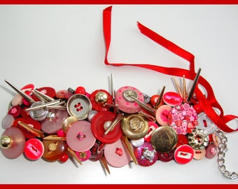 Handmade BRACELET CUFF with Vintage and Modern Buttons Beads & Charms Pinks and Reds