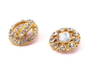 Set of 2 buttons round gold tone rhinestone