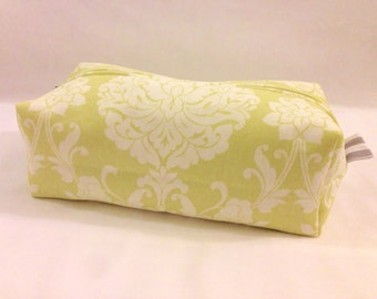 Light Green Damask Cosmetic/Makeup & Toiletry Bag