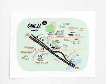 Cary, Illinois Map - Art Print - 8x10