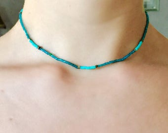 Turquoise, Teal, & Gold Simple Beaded Choker | Minimalist Necklace
