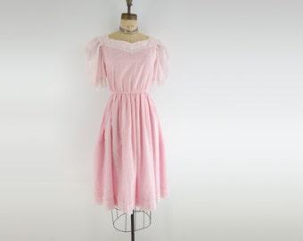 80s Floral Dress 80s Party Dress Summer Dress Pink Floral Dress Sheer Sleeve Puff Sleeve s